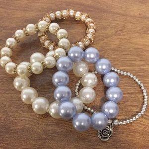 Bracelets set of five stretch faux pearl